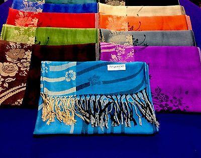 12 NEW Women Soft Silk Pashmina Shawl Stole Wrap scarf Cashmere Wholesale LOT
