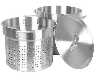 20 Quart Aluminum Pasta Cooker Large Stock Pot Strainer Lid NSF  Aluminum Large Pot
