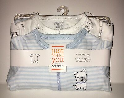 Carter's Newborn (NB) Baby 2-pack Sleep & Play Dog Just One You FREE Shipping