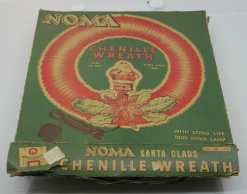 OLD NOMA CHENILLE CHRISTMAS WREATH WITH SANTA CLAUS FIGURAL LAMP, IN BOX, WORKS!