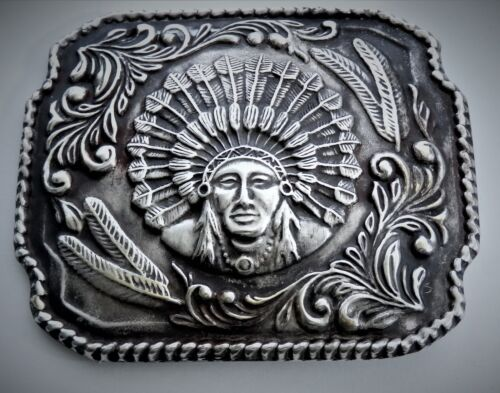 Sterling Silver Trophy Indian Chief Western Americana Belt Buckle.