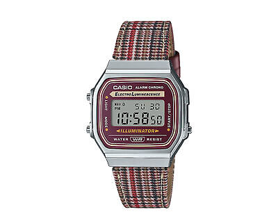 Casio Vintage A168WEFL Digital Stainless Steel-Leather Band Watch A168WEFL-5AVT