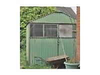 Old Green Metal Shed