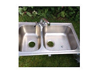 IKEA double sink with lever tap