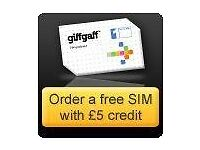 FREE giffgaff SIM Card - £5 FREE Credit After 1st Top-up