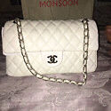 Chanel jumbo white large bag brand new with silver chain