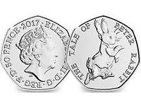 Bag of 20 Uncirculated 50p Coins Beatrix Potter Peter Rabbit 2017