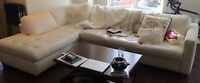 REVISED PRICE - White convertible MOBILIA leather couch like NEW