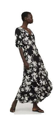 BNWT Johanna Ortiz X H&M Black Wild Roses Crepe Wrap Dress New Sold Out medium