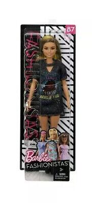 Barbie Fashionistas Doll #87 Wears a Graphic Tee Shirt Dress NIB