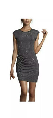 Rebecca Taylor Gray Knit Jersey Nailhead Studded Sheath Cocktail Dress M Medium