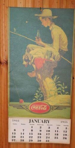 """Complete Original 1935 Coca Cola CalendarNorman Rockwell 24 x 12"""" Sign"""