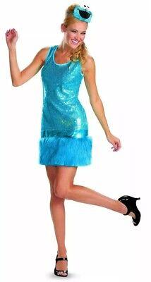 Disguise Sesame Street Cookie Monster Womens Adult XL 18-20 Dress Costume Blue