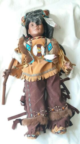 Duck House Heirloom Dolls Native American Warrior Hunter 26 inches Tall