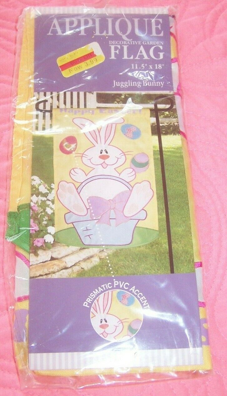 "New Happy Easter Bunny Garden Flag 11.5"" x 18"" New Creative"