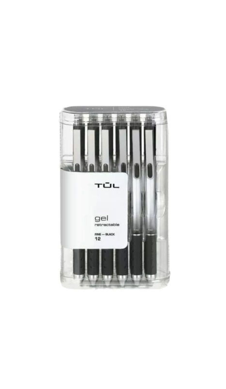 TUL Retractable Gel Pens, Fine Point, 0.5 mm, Gray Barrel/Black Ink , 12-Pack