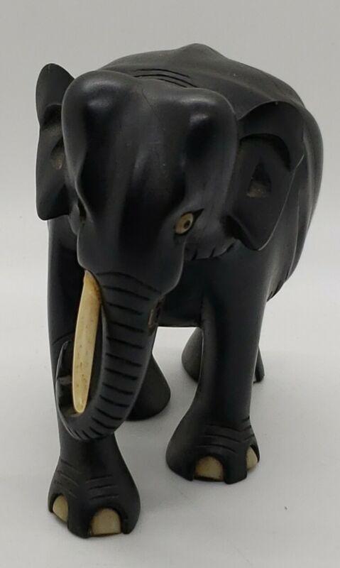 Vintage Ebony Elephant Figurine Sri Lanka (Ceylon) WhiteTusks/Toes