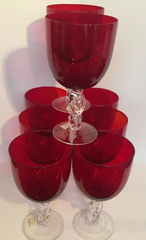 """8 Large Red Stem Glass Goblets 7.5"""" Tall - Valentine's -Holds 2&1/2 Cups -"""