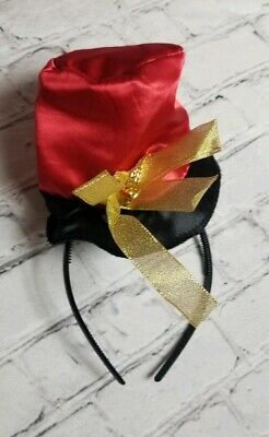 Halloween Accessories Mini Top Hat (MINI Gold TOP HAT RED BLACK DISCONTINED HEADBAND ACCESSORIES HALLOWEEN Bow)