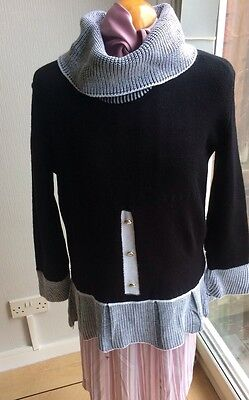 VINTAGE BLACK OVERSIZED POLO NECK JUMPER DRESS FRONT BUTTON DETAIL SIZE L/XL
