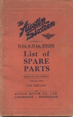 Austin Sixteen 16 & 18 original illustrated Spare Parts List 1934 Pub. No.999A