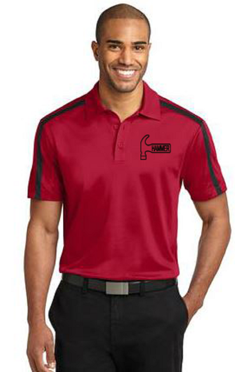 Hammer Men's Rhythm Performance Polo Bowling Shirt Dri Fit Red