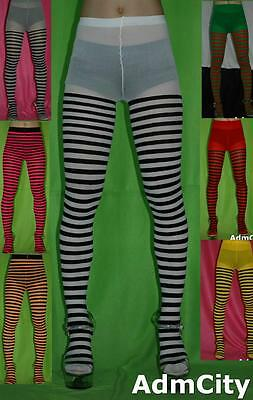 Spandex Stripes Tights Pantyhose Red Green Black Yellow White Purple Pink Gray](Purple And Pink Striped Tights)