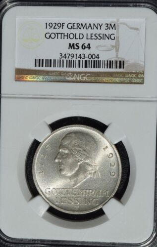 1929 F Germany 3 Reichesmark, Gotthold Lessing, NGC MS 64