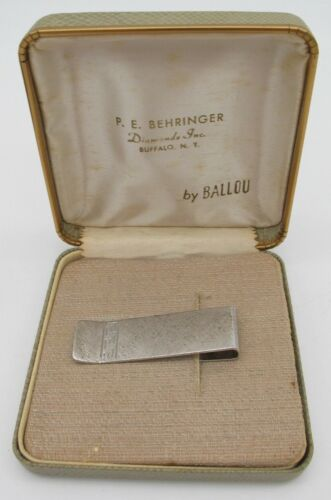 Vtg Sterling Silver Ballou Engraved Money Clip 10.16 Grams