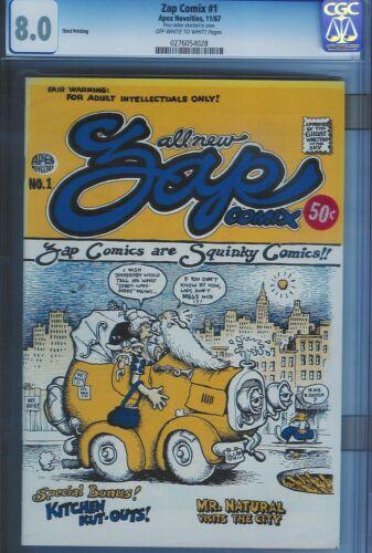 CGC 8.0 ZAP COMIX #1 OW/W PGS 3RD PRINTING APEX NOVELTIES 1967 ROBERT CRUMB ART
