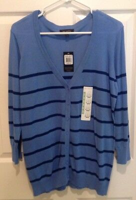 THE LIMITED Lightweight Blue/Navy Stripe Cardigan Sweater S. NEW ()
