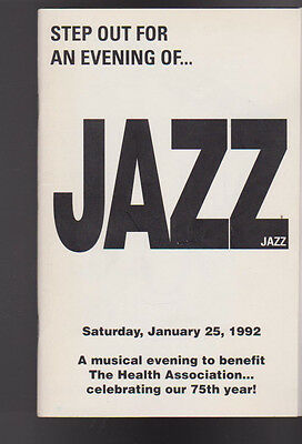 Step Out for an Evening of Jazz Program January 25 1992 Rochester NY Phil Woods