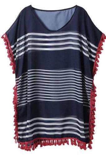 Wander Agio Beach Swimsuit Bikini Coverup Blue Stripes With