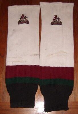 (PHOENIX COYOTES game-worn 1996-97 inaugural season home socks (embroidered logo))