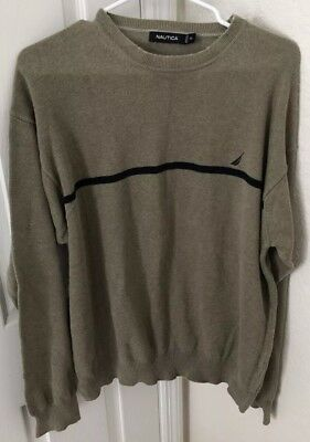 Vintage Mens Nautica Sweater Large Pullover Beige Taupe With Stripe Size XL