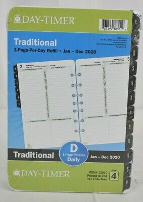 2020 Day-timer 5 12 X 8 12 Classic One Page Per Day Refill 24385062 - New