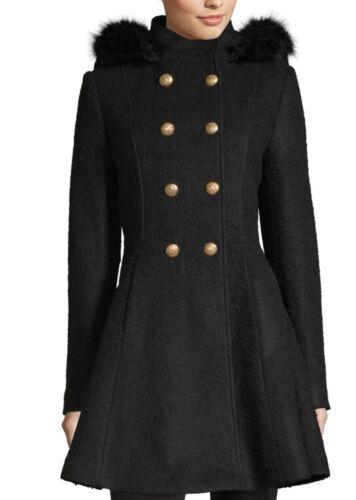NEW Liz Claiborne Faux Fur Hooded Dress Winter Black Coat Ja