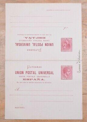 MayfairStamps Habana 1881 2 Peso Universal Postal Union Mint Stationery Reply Ca