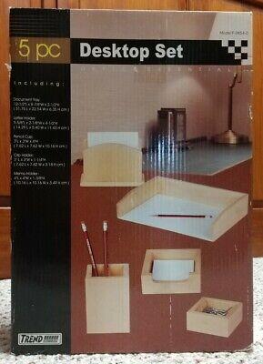 5 Piece Wood Desk Organizer Pencil Cup Tray Letter Memo Clip Holder