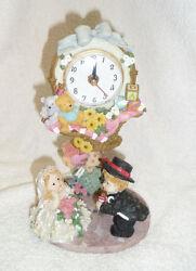 Vintage 1980s Table Clock w/ Pendulum Polychrome Ceramic Bride & Groom Figurine