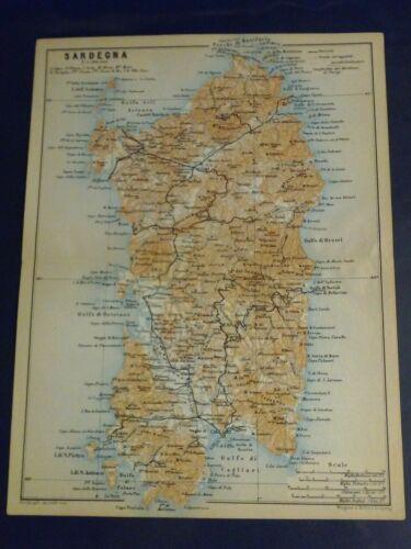 1908 Antique Color Lithograph MAP Italy Island SARDINIA (Sardegna) - Baedecker