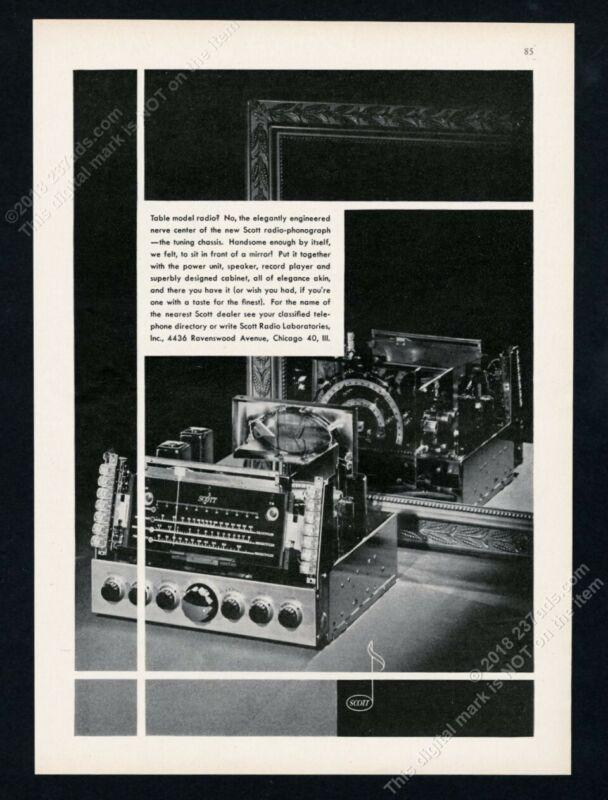 1947 Scott radio opened up photo vintage print ad