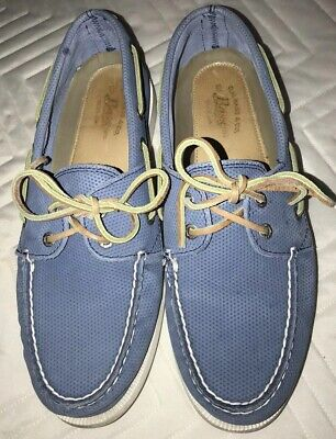 Bass Handcrafted Hampton Resort Blue Perforated Leather Mens Boat Shoes. 9M.