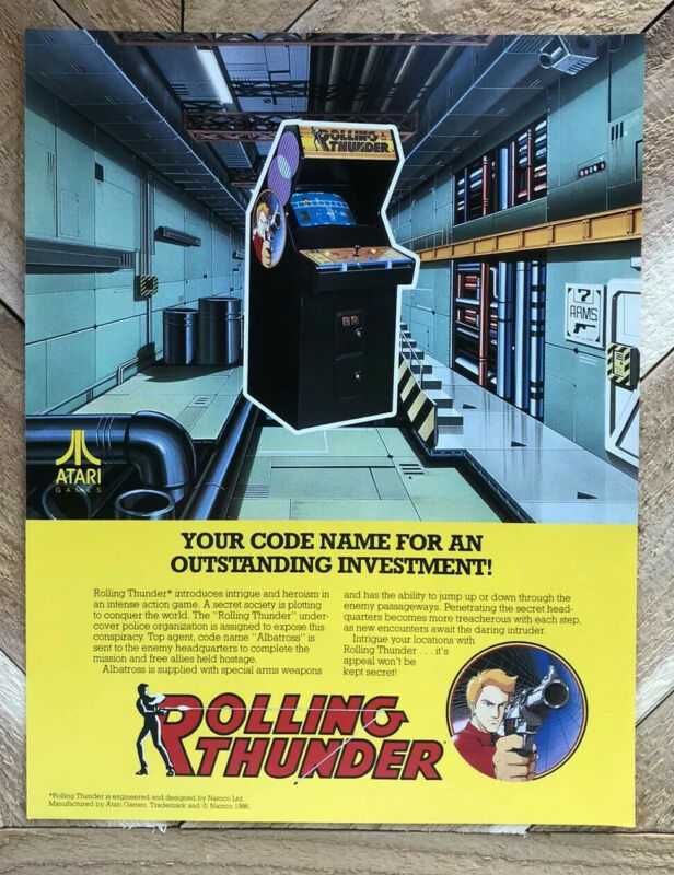 Rolling Thunder Arcade FLYER Original Atari 1986 Video Game Promo Sheet NOS