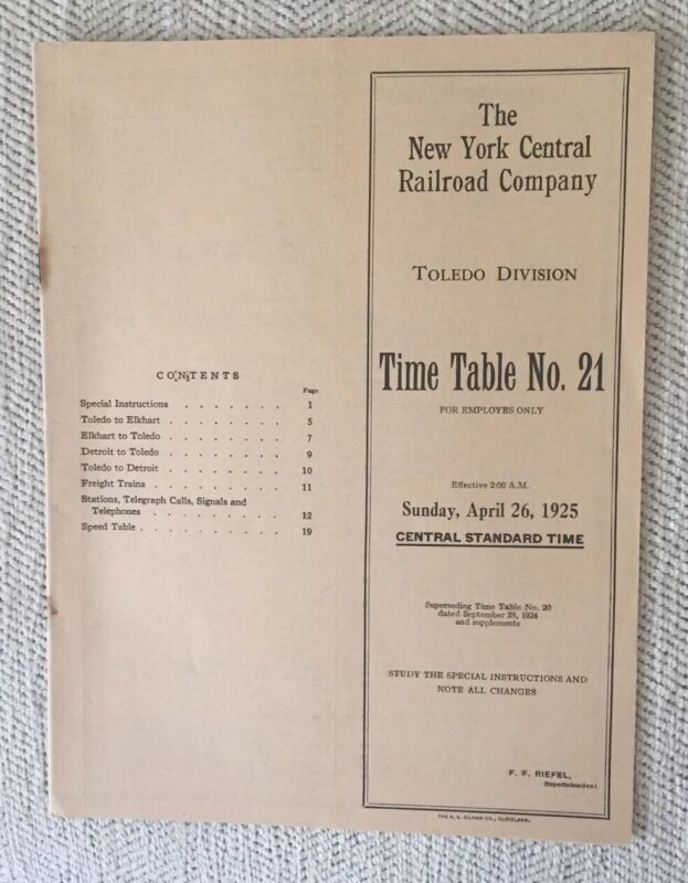 NYC RR 4/26/25 Employee Timetable:Toledo Division