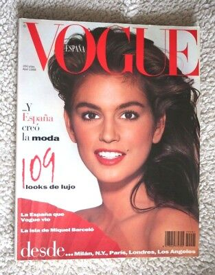 Spanish VOGUE #1 (1988)! CINDY CRAWFORD! Impossible to Find! SPAIN, MAGAZINE.