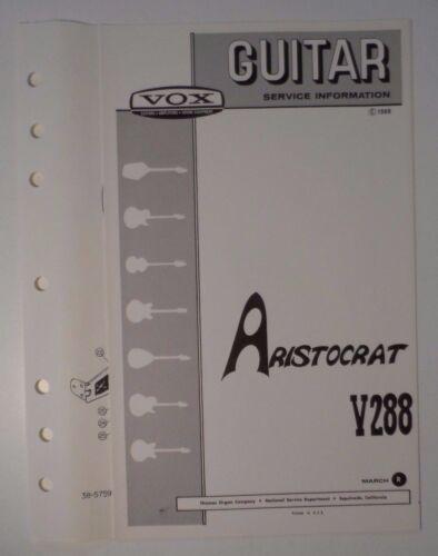 Original 1969 VOX Guitar - Aristocrat V288  Service Information