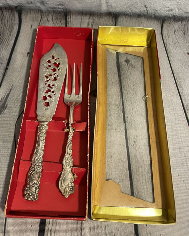 Vintage Extra Prima NS Nils Johan ALP Made in Sweden Cake Knife Fork Serving Set