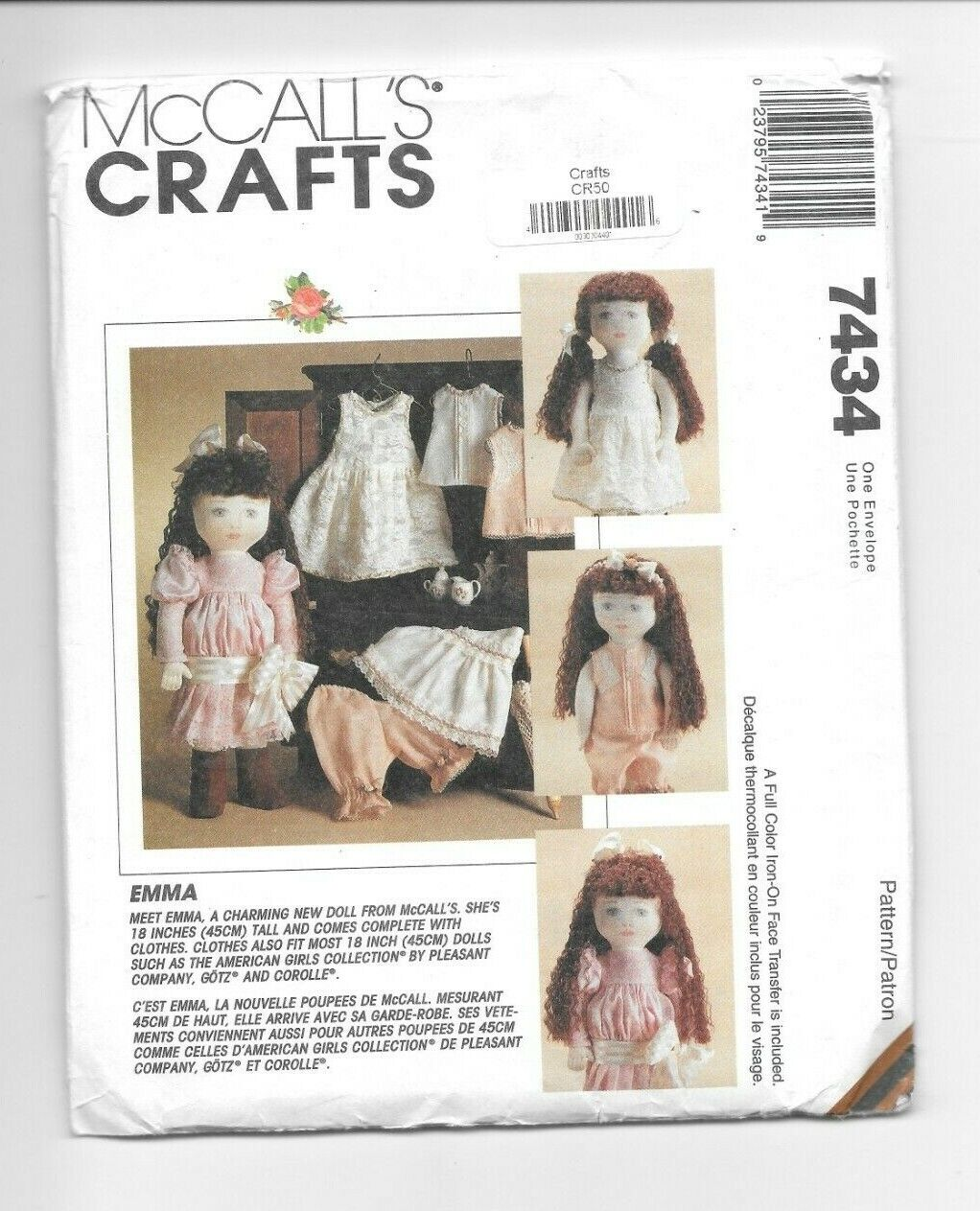 "Vtg McCall #7434 Craft Sew Pattern 18"" Doll & Clothes Emma &"