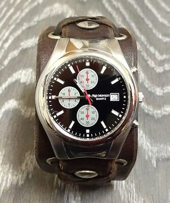 Red Monkey Black Widow Chronograph Herren Armbanduhr Echt Leder Armband